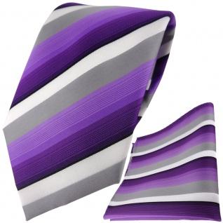 TigerTie Designer Krawatte + Einstecktuch lila violett grau weiss gestreift