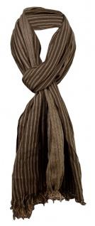 Schal in braun dunkelbraun gestreift mit kleinen Fransen - Gr. 180 x 50 cm