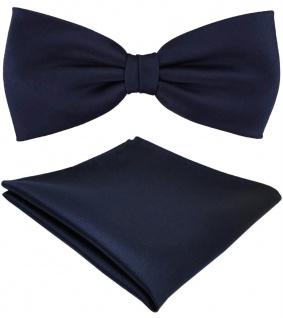 TigerTie Satin Fliege + Einstecktuch marine dunkelblau Einfarbig + Geschenkbox