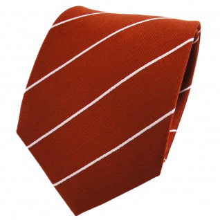 TigerTie Seidenkrawatte rostbraun silber gestreift - Krawatte 100% Seide
