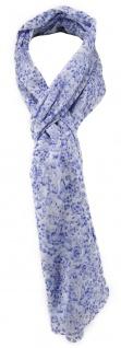 TigerTie Schal in blau weiß geblümt - Gr. 180 x 50 cm - 100% Baumwolle