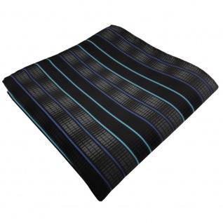 schönes Einstecktuch in schwarz anthrazit türkis blau gestreift - 100% Polyester