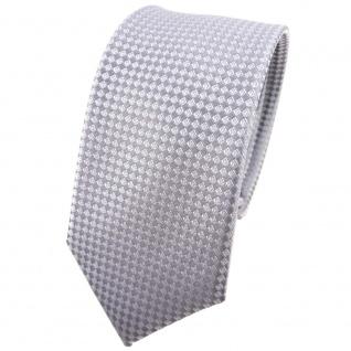 schmale Hochzeit Seidenkrawatte silber kleine vierecke Uni - Krawatte 100% Seide