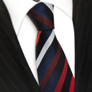 Designer Seidenkrawatte rot weinrot orangerot blau silber gestreift - Krawatte - Vorschau 3