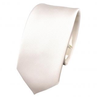 Schmale TigerTie Designer Krawatte weiß perlweiß creme cremeweiß Uni Rips - Tie
