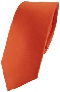 schmale Designer Satin Seidenkrawatte orange Uni - Tie Krawatte 100 % Seide Silk