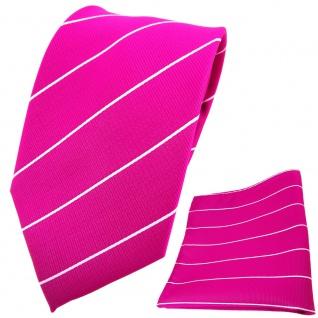 TigerTie Krawatte + Einstecktuch magenta fuchsia silber gestreift