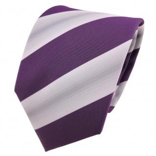 Designer Krawatte lila violett grau gestreift - Schlips Binder Tie