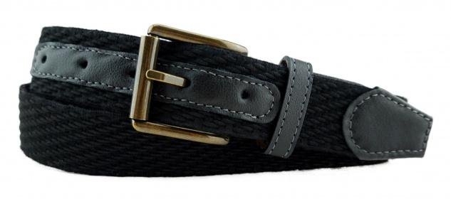 TigerTie - Stretchgürtel in schwarz einfarbig - Bundweite 100 cm