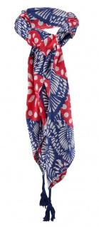 Halstuch in rot blau grau gemustert mit Tusseln an den Ecken - Gr. 100 x 100 cm - Vorschau