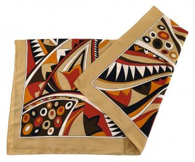 Nickituch in beige schwarz weiss rot braun orange gemustert - Tuchgröße 50x50 cm