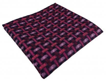TigerTie Designer Einstecktuch rose rosa weinrot schwarz - Motiv Flechtmuster