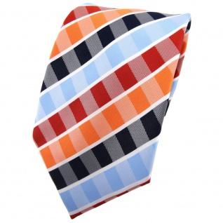 TigerTie Krawatte orange rotorange blau hellblau weiß gestreift - Binder Tie