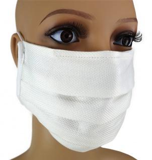 TigerTie Gesichtsmaske mit Nasenbügel Pique weiss gemustert mit Gummiband