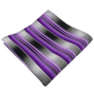 TigerTie Einstecktuch lila flieder anthrazit silber grau gestreift - Polyester