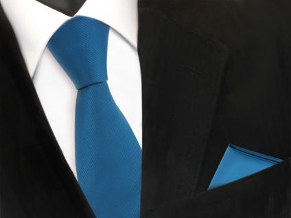 Designer TigerTie Krawatte + Einstecktuch türkis wasserblau türkisblau Uni Rips
