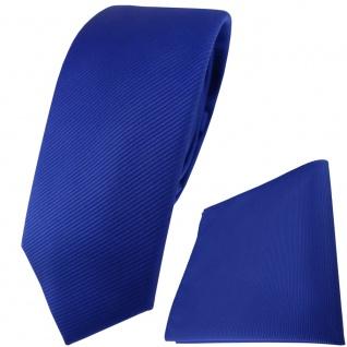 schmale TigerTie Krawatte + Einstecktuch in royal blau einfarbig Uni Rips - Vorschau