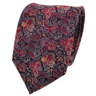 Designer Krawatte rot orange grau Paisley - Schlips Binder Tie