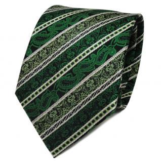 TigerTie Seidenkrawatte grün smaragdgrün silber gestreift - Krawatte Seide