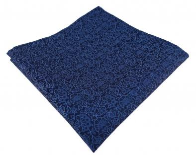 TigerTie Designer Einstecktuch in blau marine dunkelblau florales Muster