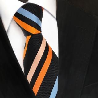 TigerTie Seidenkrawatte orange schwarz blau lachs gestreift - Krawatte Seide