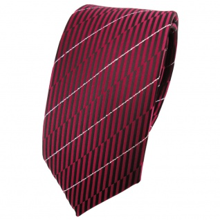 Schmale TigerTie Krawatte rot weinrot schwarz silber gestreift - Binder Schlips