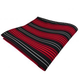 TigerTie Einstecktuch rot anthrazit schwarz silber gestreift - Tuch Polyester