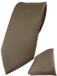 TigerTie Designer Krawatte + TigerTie Einstecktuch in graubraun einfarbig uni