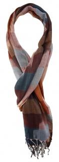 TigerTie Schal in braun rotbraun grau gemustert mit Fransen - Gr. 180 x 50 cm