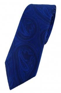 TigerTie - schmale Designer Krawatte in royal blau schwarz Paisley gemustert