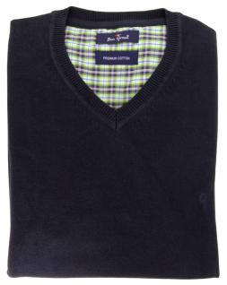 Ben Green Pullover V-Ausschnit in marine dunkelblau Premium Cotton Langarm GR. L