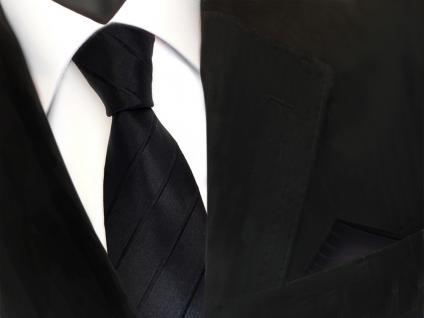 schmale Designer Seidenkrawatte + Einstecktuch in schwarz gestreift - Krawatte