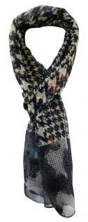 TigerTie Unisex Chiffon Schal in anthrazit blau grau schwarz gemustert