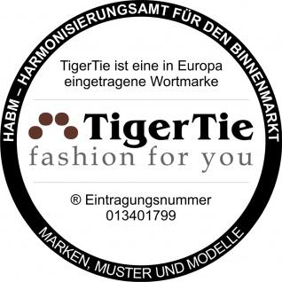 schmale TigerTie Fliege Pique in blau-weiss gemustert + Einstecktuch + Box - Vorschau 2