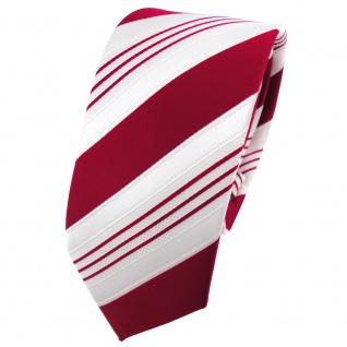 schmale TigerTie Satin Krawatte rot signalrot weiß silber gestreift - Binder Tie