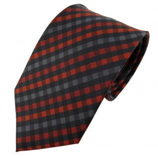TigerTie Designer Krawatte orange anthrazit schwarz kariert - Schlips Tie