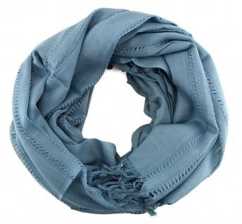 Schal in türkis blau Uni einfarbig mit Fransen - Gr. 180 x 100 cm - Halstuch