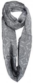 Loop Schal Halstuch in grau anthrazit gemustert mit Fransen - Größe 180 x 50 cm