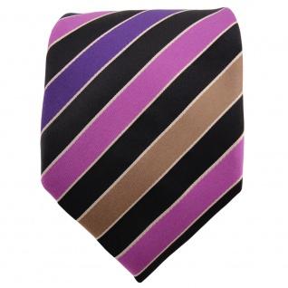 TigerTie Satin Krawatte lila violett schwarz silber gestreift - Binder Schlips - Vorschau 2