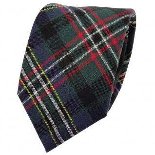 Designer Wollkrawatte grün blau rot creme gelb kariert - Krawatte Wolle wool