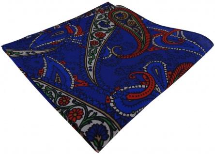 TigerTie Seideneinstecktuch in royal blau rot grün schwarz braun Paisley