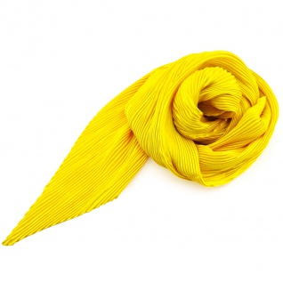 Damen Satin Raffschal dehnbar gelb leuchtgelb ca. 80 x 70 - Tuch Halstuch Schal