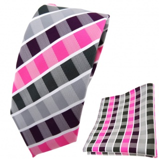 schmale TigerTie Krawatte + Einstecktuch lila pink grau anthrazit weiß gestreift
