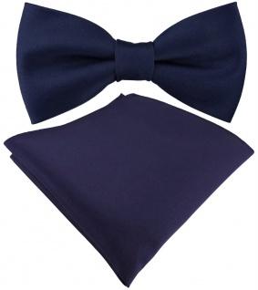 Set Jungenfliege in dunkelblau Uni - Halsumfang verstellbar+ Einstecktuch + Box