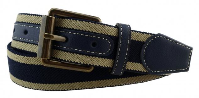 TigerTie - Stretchgürtel in beige blau dunkelblau gestreift - Bundweite 100 cm