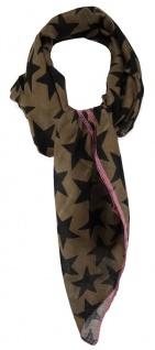 TigerTie Designer Halstuch in braun rosa schwarz mit Sternenmotiven gemustert
