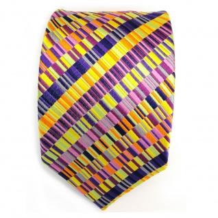 Seidenkrawatte magenta orange gelb lila violett pink gestreift - Krawatte Seide - Vorschau 2