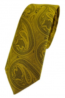 TigerTie - schmale Designer Krawatte in gold schwarz Paisley gemustert