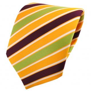 TigerTie Satin Krawatte gelb sonnengelb bordeaux grün weiß gestreift - Binder - Vorschau 1