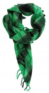 Halstuch grün grau schwarz kariert mit Fransen an zwei Seiten -Gr. 100 x 100 cm